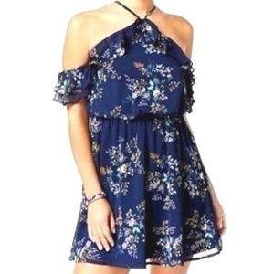 Cold Shoulder Ruffle Floral Pattern Dress Size XL